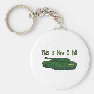 How I Roll (Military Tank) Basic Round Button Key Ring