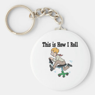 How I Roll Office Chair Basic Round Button Key Ring