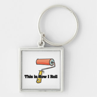 How I Roll (Paint Roller) Silver-Colored Square Key Ring