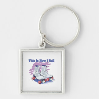How I Roll (Roller Skates) Silver-Colored Square Key Ring