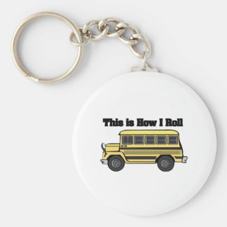 How I Roll (School Bus) Basic Round Button Key Ring