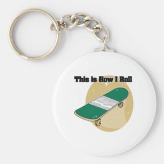 How I Roll (Skateboard) Basic Round Button Key Ring