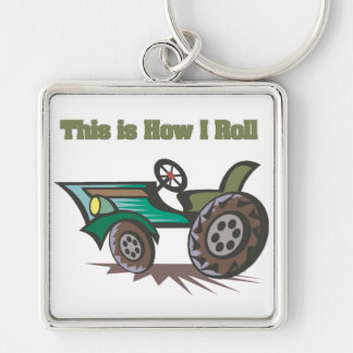 How I Roll (Tractor) Silver-Colored Square Key Ring