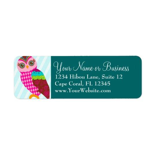 How Now Pink Owl? Return Address Label