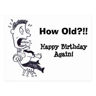 How Old Birthday Postcard
