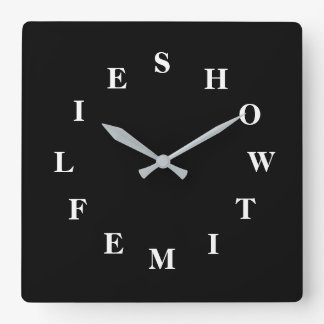 How Time Flies Black Square Wall Clock by Janz