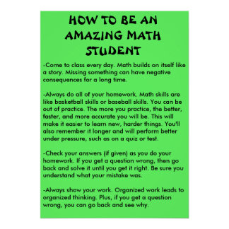 how to be an amazing math student poster