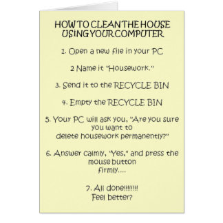 How to Clean Your House Using the Computer Card