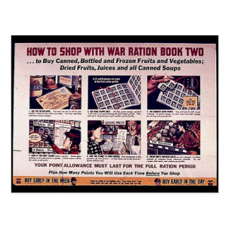 How To Shop With War Ration Book Two Postcard