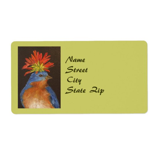 Howard the bluebird address label