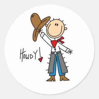 Howdy! Cowboy Stick Figure Sticker