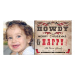 Howdy Cowboy Western Xmas Photocard Photo Card Template