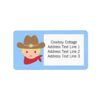 Howdy, Cute Cowboy for little boys Label