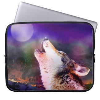 Howlin wolf - moon wolf - head wolf laptop sleeve