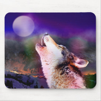 Howlin wolf - moon wolf - head wolf mouse pad