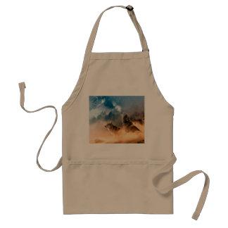 Howlin wolf - wolf art - moon wolf - forest wolf standard apron