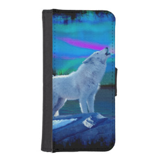 Howling Arctic Wolf and Aurora Wildlife Art iPhone SE/5/5s Wallet Case