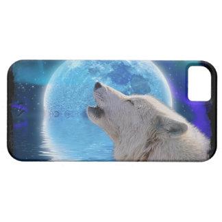 Howling Arctic Wolf, Moon & Aurora Wildlife Art iPhone 5 Case