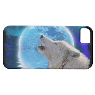 Howling Arctic Wolf, Moon & Aurora Wildlife Art iPhone 5 Covers