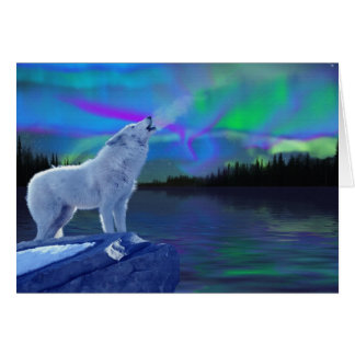 Howling Arctic Wolf & Northern Lights Note Card