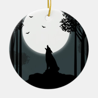 howling at the Moon Ceramic Ornament