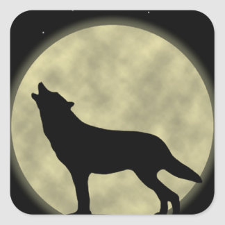 Howling at the Moon Wolf Stickers