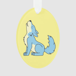 Howling Baby Blue Wolf Ornament