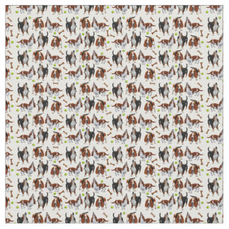 Howling Basset Hound Dogs Fabric
