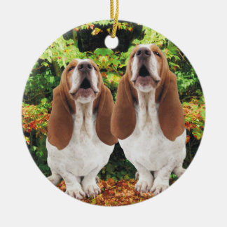 Howling Basset Hounds Christmas Ornament