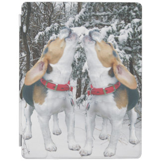 Howling Beagles Snowy Woods iPad Cover