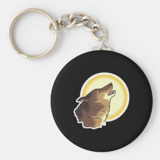 howling brown wolf key chains