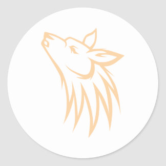 Howling Coyote Classic Round Sticker