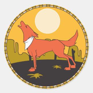 howling coyote scene round sticker