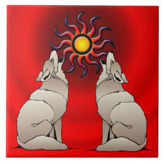 HOWLING COYOTES CERAMIC TILE