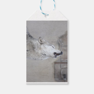 Howling Gray Wolf Gift Tags