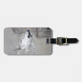 Howling Gray Wolf Luggage Tag