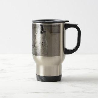 Howling Gray Wolf Travel Mug