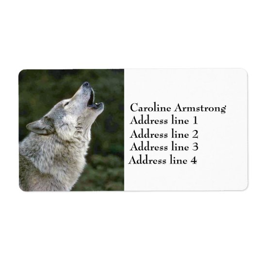 Howling grey wolf photo custom address labels