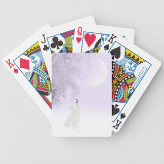 Howling white wolf bicycle playing cards