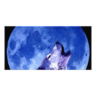 Howling Wolf at Moon Customized Photo Card