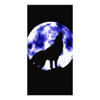Howling Wolf at Moon Photo Card