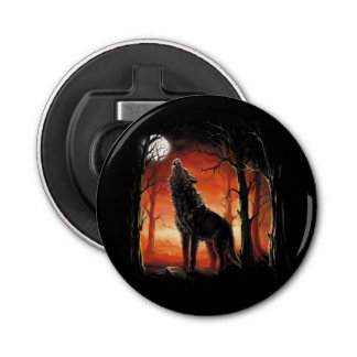 Howling Wolf at Sunset Bottle Opener