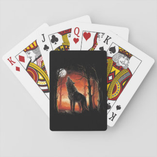 Howling Wolf at Sunset Playing Cards