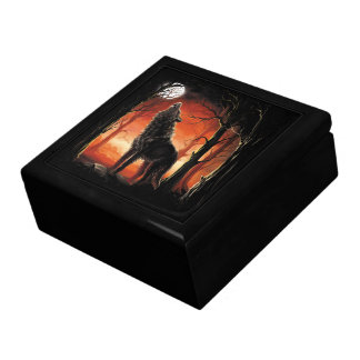 Howling Wolf at Sunset Trinket Box