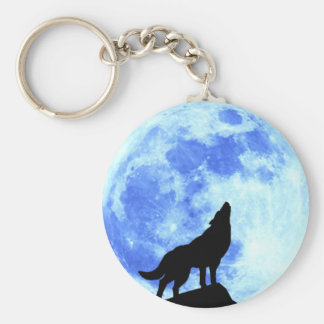"Howling Wolf At The Full Moo 2.25"" Button Keychain"