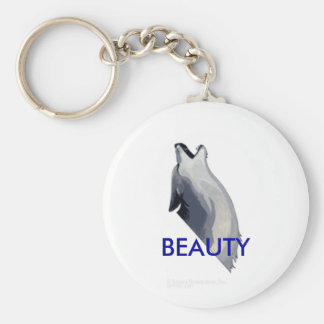 howling wolf, BEAUTY Basic Round Button Key Ring