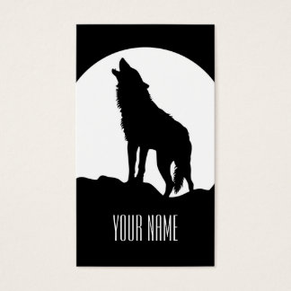 Howling wolf business card Black and white