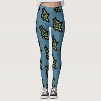 HOWLING WOLF DOG HEAD by Slipperywindow Leggings