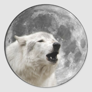 Howling wolf in the moon classic round sticker