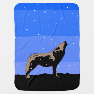 Howling Wolf in Winter Baby Blanket